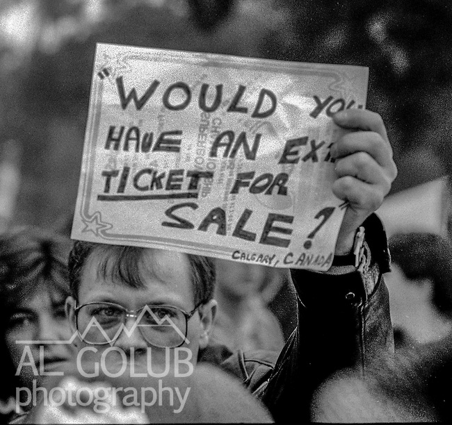 Fan with sign wants a ticket at the Super Bowl XIX tailgate on the Stanford University campus. The San Francisco 49ers defeated the Miami Dolphins 38-16 on Sunday, January 20, 1985.