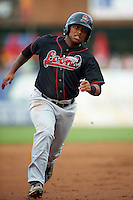 Great Lakes Loons designated hitter Willie Calhoun (3) running the bases during a game against the Kane County Cougars on August 13, 2015 at Fifth Third Bank Ballpark in Geneva, Illinois.  Great Lakes defeated Kane County 7-3.  (Mike Janes/Four Seam Images)