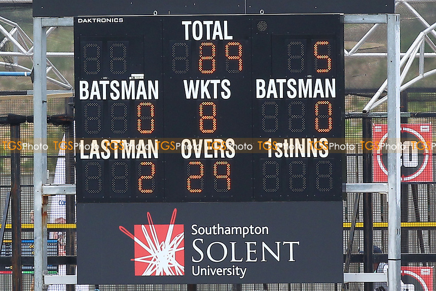The scoreboard shows that Essex have been reduced to 89 for 8 wickets - Hampshire CCC vs Essex CCC - LV County Championship Division Two Cricket at the Ageas Bowl, West End, Southampton - 16/06/14 - MANDATORY CREDIT: Gavin Ellis/TGSPHOTO - Self billing applies where appropriate - 0845 094 6026 - contact@tgsphoto.co.uk - NO UNPAID USE