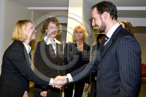 BRUSSELS - BELGIUM - 22 JANUARY 2009 -- Inauguration of the Norway House with HRH Crown Prince Haakon of Norway. -- HRH Crown Prince Haakon (Ri) greeting Monica Mæland (director of the board, West-Norway Brussels office), director Merete Mikkelsen (Ce), West-Norway Brussels office and director Ingebjørg Sveen Brunborg (South Norway Europe office). -- PHOTO: Juha ROININEN / EUP-IMAGES