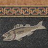 "Name: Antique Fish with Leuta<br /> Style: Classic<br /> Product Number: CB0710<br /> Description: Antique Fish with Leuta 4 1/4"" in Nero hand chopped background, Rosa Verona, Giallo Reale, Botticino, Travertine Noce, Red Travertine, Emperador Dark, Bardiglio, New Kendra (p)"