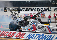 Aug 19, 2018; Brainerd, MN, USA; NHRA top fuel driver Antron Brown during the Lucas Oil Nationals at Brainerd International Raceway. Mandatory Credit: Mark J. Rebilas-USA TODAY Sports
