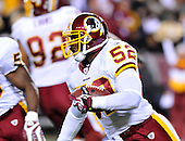 Landover, MD - November 16, 2008 -- Washington Redskins linebacker Rocky McIntosh (52) returns an interception in the second quarter against the Dallas Cowboys at FedEx Field in Landover, Maryland on Sunday, September 9, 2007.  The Redskins lost the game 14 - 10..Credit: Ron Sachs / CNP