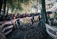 Katie Compton (USA/KFC Racing p/b Trek/Panache) crashing on the slippery descent<br /> <br /> Women's race<br /> Superprestige Gavere / Belgium 2017