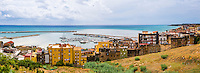 Panoramic photo of the fishing town of Sciacca on the Medieterranean Coast in the Agrigento Province, Sicily, Italy, Europe. This is a panoramic photo of the fishing town of Sciacca on the Medieterranean Coast in the Agrigento Province, Sicily, Italy, Europe.