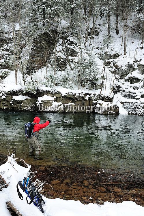 Toby Thompson winter trout fishing,Fishing Creek Pa.