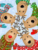 Kate, CHRISTMAS ANIMALS, WEIHNACHTEN TIERE, NAVIDAD ANIMALES, paintings+++++Rudolph and mates 2.,GBKM575,#xa#