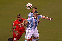 Action photo during the match Argentina vs Chile corresponding to the Final of America Cup Centenary 2016, at MetLife Stadium.<br /> <br /> Foto durante al partido Argentina vs Chile cprresponidente a la Final de la Copa America Centenario USA 2016 en el Estadio MetLife , en la foto:(i-d) Arturo Vidal de Chile y Ramiro Funes Mori de Argentina<br /> <br /> <br /> 26/06/2016/MEXSPORT/JAVIER RAMIREZ