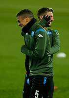 26th November 2019; Anfield, Liverpool, Merseyside, England; UEFA Champions League, Liverpool versus Napoli, Napoli Training; Allan and Piotr Zielinski of SSC Napoli  share a jokeduring SSC Napoli's open training session at Anfield ahead of tomorrow's Champions League group match against Liverpool