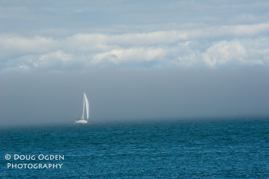 Sail boat and fog in San Francisco Bay