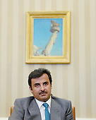 The Amir of Qatar, His Highness Sheikh Tamim bin Hamad al Thani attends a meeting with United States President Obama in the Oval Office of the White House February 24, 2015 in Washington, DC.<br /> Credit: Olivier Douliery / Pool via CNP