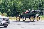 WOODBURY, CT. 16 July 2019-071619 -  Bill Parfet of Hickory Corner, Michigan, leaves the Hotchkissville Firehouse off route 47 in Woodbury on Tuesday, after filling up with water in his 1912 Stanley Steamer, the largest passenger car built at that time  A large group of owners of Stanley Steamers from around the country have gathered driving around the area touring the Litchfield Hills. Bill Shettle Republican-American