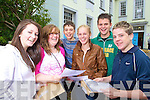 Junior Cert student from Gaelcholaiste Chiarrai, Tralee after receiving their results on Wednesday from left Mary Rose Breen, Cliodhna Hurley, Dean Mahoney, Muireann O'Connor, Brian Mahoney and Damien Kissane.