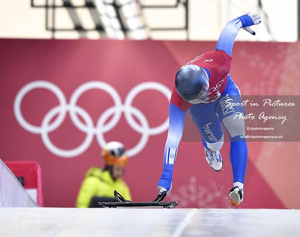 Adam Edelman (ISR). Skeleton training. Alpensia sliding centrePyeongchang2018 winter Olympics. Alpensia. Republic of Korea. 13/02/2018. ~ MANDATORY CREDIT Garry Bowden/SIPPA - NO UNAUTHORISED USE - +44 7837 394578