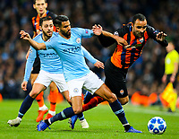 Shakhtar Donetsk's Ismaily is tackled by Manchester City's Riyad Mahrez<br /> <br /> Photographer Alex Dodd/CameraSport<br /> <br /> UEFA Champions League Group F - Manchester City v Shakhtar Donetsk - Wednesday 7th November 2018 - City of Manchester Stadium - Manchester<br />  <br /> World Copyright © 2018 CameraSport. All rights reserved. 43 Linden Ave. Countesthorpe. Leicester. England. LE8 5PG - Tel: +44 (0) 116 277 4147 - admin@camerasport.com - www.camerasport.com