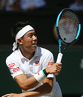 Kei Nishikori (JPN) during his match against Cameron Norrie (GBR) in their Gentleman's Singles Second Round match<br /> <br /> Photographer Rob Newell/CameraSport<br /> <br /> Wimbledon Lawn Tennis Championships - Day 4 - Thursday 4th July 2019 -  All England Lawn Tennis and Croquet Club - Wimbledon - London - England<br /> <br /> World Copyright © 2019 CameraSport. All rights reserved. 43 Linden Ave. Countesthorpe. Leicester. England. LE8 5PG - Tel: +44 (0) 116 277 4147 - admin@camerasport.com - www.camerasport.com
