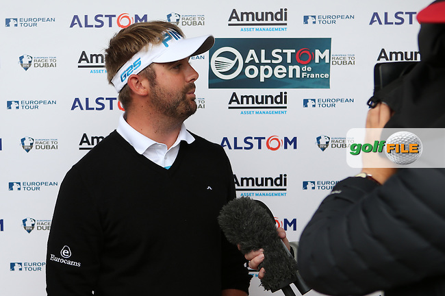 Matthew Baldwin (ENG) being interviewed after the Final Round of the Alstom Open de France from Le Golf National, Guyancourt, Versailles, France. Picture:  David Lloyd / www.golffile.ie