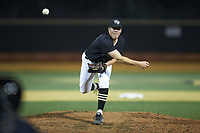 Wake Forest Demon Deacons relief pitcher Chris Farish (32) delivers a pitch to the plate against the Virginia Cavaliers at David F. Couch Ballpark on May 18, 2018 in  Winston-Salem, North Carolina.  The Cavaliers defeated the Demon Deacons 15-3.  (Brian Westerholt/Four Seam Images)