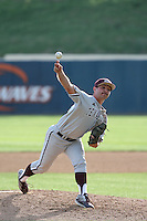 Brigham Hill (15) of the Texas A&M Aggies pitches against the Pepperdine Waves at Eddy D. Field Stadium on February 26, 2016 in Malibu, California. Pepperdine defeated Texas A&M, 7-5. (Larry Goren/Four Seam Images)