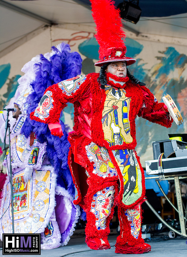 The Creole Wild West Mardi Gras Indians perform at the 2012 Jazz and Heritage Festival in New Orleans, LA on April 29, 2012.  © HIGH ISO Music, LLC / Retna, Ltd.,