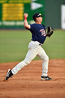 Elizabethton Twins shortstop Spencer Steer (31) throws to first base during a game against the Kingsport Mets at Joe O'Brien Field on July 6, 2019 in Elizabethton, Tennessee. The Twins defeated the Mets 5-3. (Tony Farlow/Four Seam Images)