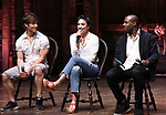 "Thayne Jasperson, Lauren Boyd and Justin Dine Bryantr during a Q & A before The Rockefeller Foundation and The Gilder Lehrman Institute of American History sponsored High School student #eduHam matinee performance of ""Hamilton"" at the Richard Rodgers Theatre on May 9, 2018 in New York City."