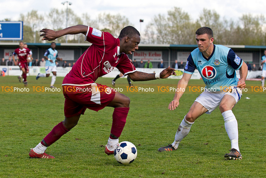 Warren Whitely of Chelmsford City takes on Michael Green of Eastleigh - Eastleigh vs Chelmsford City - Blue Square Conference South Football at the Silverlake Stadium - 21/04/12 - MANDATORY CREDIT: Ray Lawrence/TGSPHOTO - Self billing applies where appropriate - 0845 094 6026 - contact@tgsphoto.co.uk - NO UNPAID USE.