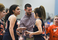 Heritage head coach Josh Laymon talks to his players, Friday, February 7, 2020 during a basketball game at Wildcat Arena at Har-Ber High School in Springdale. Check out nwaonline.com/prepbball/ for today's photo gallery.<br /> (NWA Democrat-Gazette/Charlie Kaijo)