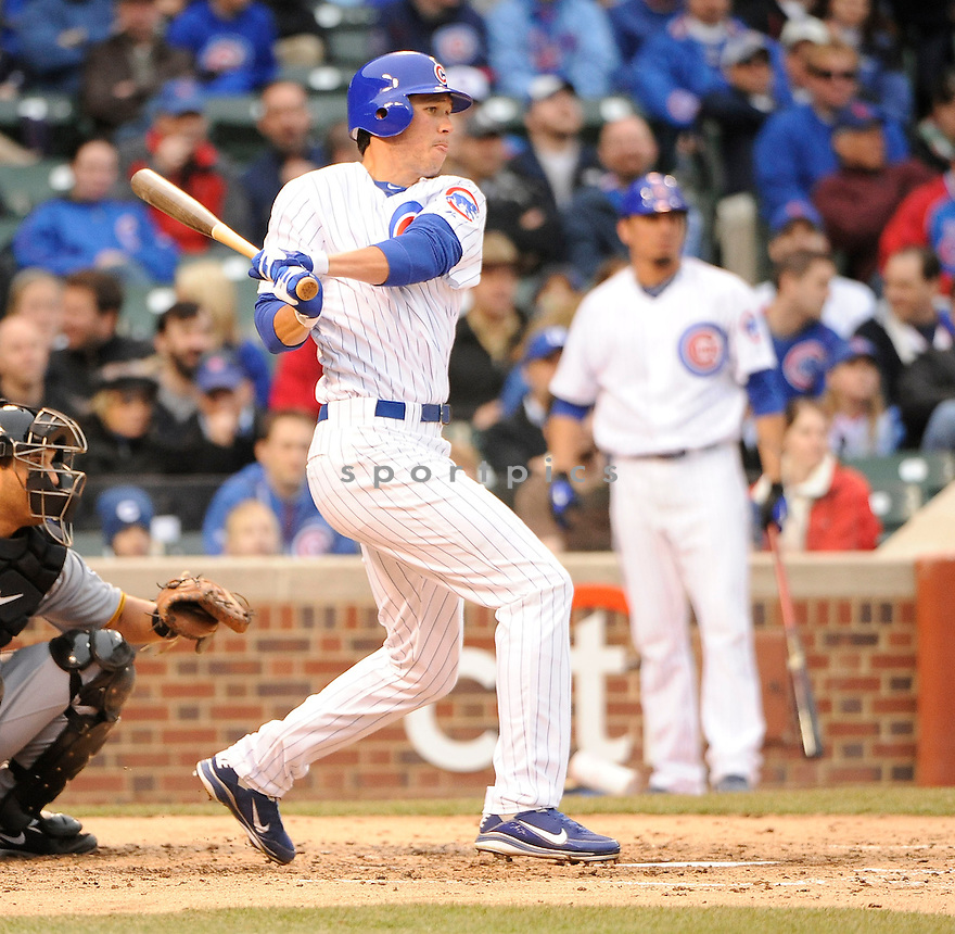TYLER COLVIN, of the Chicago Cubs , in actions during the Cubs game against the Pittsburgh Pirates at Wrigley FIeld on April 3, 2011.  The Pirates won the game beating the Cubs 5-4.