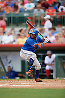 St. Lucie Mets center fielder John Mora (4) at bat during a game against the Florida Fire Frogs on July 23, 2017 at Osceola County Stadium in Kissimmee, Florida.  St. Lucie defeated Florida 3-2.  (Mike Janes/Four Seam Images)