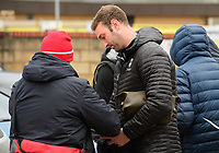Lincoln City's first team coach/under 23 manager Jamie McCombe signs autographs for fans after arriving at the ground<br /> <br /> Photographer Chris Vaughan/CameraSport<br /> <br /> The EFL Sky Bet League Two - Lincoln City v Grimsby Town - Saturday 19 January 2019 - Sincil Bank - Lincoln<br /> <br /> World Copyright © 2019 CameraSport. All rights reserved. 43 Linden Ave. Countesthorpe. Leicester. England. LE8 5PG - Tel: +44 (0) 116 277 4147 - admin@camerasport.com - www.camerasport.com