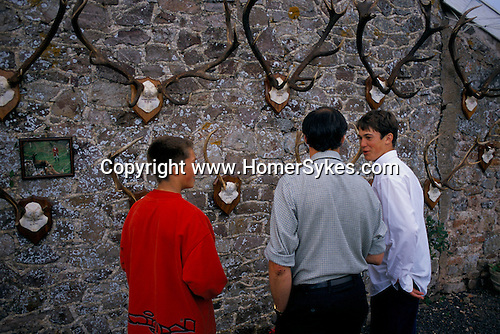 Quantock Stag Hounds Puppy Show. Somerset. 1997<br /> <br /> Dan and Ben Ayres talking to Rick Downs.