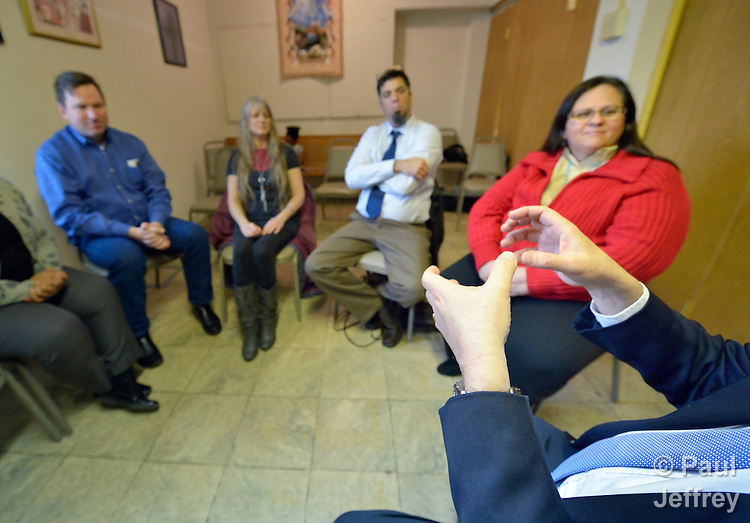 A Bible study for deaf or hearing impaired people at Dallas Indian United Methodist Church in Dallas, Texas.