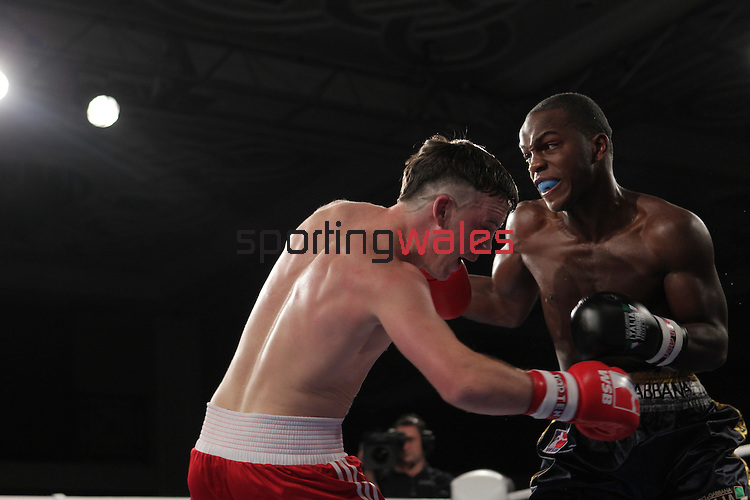 NEWPORT, WALES - November 23:.Fred Evans (WAL) in action against Michel Tavares (FRA) in the 68-73kg bout at the World Series of Boxing event between British Lionhearts and Dolce & Gabbana Italia Thunder at The Celtic Manor Resort in Wales..23.11.12..©Steve Pope - Sportingwales