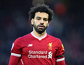 17th March 2018, Anfield, Liverpool, England; EPL Premier League football, Liverpool versus Watford; Mohammed Salah of Liverpool looks on as play builds during the first half