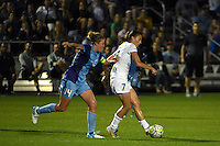 Kansas City, MO - Saturday May 28, 2016: FC Kansas City midfielder Mandy Laddish (7) moves the ball against Orlando Pride midfielder Becky Edwards (14) during a regular season National Women's Soccer League (NWSL) match at Swope Soccer Village.  Kansas City won 2-0.