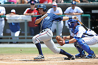 Mobile BayBears Niko Gallego #14 swings at a pitch during a game against the Tennessee Smokies at Smokies Park in Kodak,  Tennessee;  May 22, 2011.  The Smokies won the game 4-2.  Photo By Tony Farlow/Four Seam Images