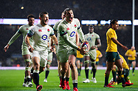 Jonny May of England celebrates scoring a try in the second half. Old Mutual Wealth Series International match between England and Australia on November 18, 2017 at Twickenham Stadium in London, England. Photo by: Patrick Khachfe / Onside Images