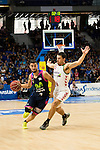 Movistar Estudiantes's Jaime Fernandez and Laboral Kutxa's Mike James during Liga Endesa ACB at Barclays Center in Madrid, October 11, 2015.<br /> (ALTERPHOTOS/BorjaB.Hojas)