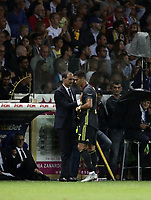 Calcio, Serie A: Parma - Juventus, Parma stadio Ennio Tardini, 1 settembre 2018.<br /> Juventus' coach Massimiliano Allegri (l) speaks with Cristiano Ronaldo (r) during the Italian Serie A football match between Parma and Juventus at Parma's Ennio Tardini stadium, September 1, 2018. <br /> UPDATE IMAGES PRESS/Isabella Bonotto
