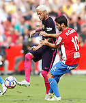 Sporting de Gijon's Nacho Cases (r) and FC Barcelona's Neymar Santos Jr during La Liga match. September 24,2016. (ALTERPHOTOS/Acero)