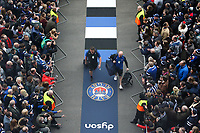 Toby Booth and Allan Ryan of Bath Rugby make their way through the tunnel of noise on arrival at Twickenham Stadium. Gallagher Premiership match, The Clash, between Bath Rugby and Bristol Rugby on April 6, 2019 at Twickenham Stadium in London, England. Photo by: Andrew Fosker for Onside Images