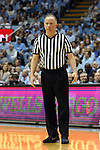 20 February 2016: Referee John Gaffney. The University of North Carolina Tar Heels hosted the University of Miami Hurricanes at the Dean E. Smith Center in Chapel Hill, North Carolina in a 2015-16 NCAA Division I Men's Basketball game. UNC won the game 96-71.