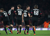 Hakan Çalhanoğlu of AC Milan celebrates scoring the opening goal during the UEFA Europa League round of 16 2nd leg match between Arsenal and AC Milan at the Emirates Stadium, London, England on 15 March 2018. Photo by Vince  Mignott / PRiME Media Images.
