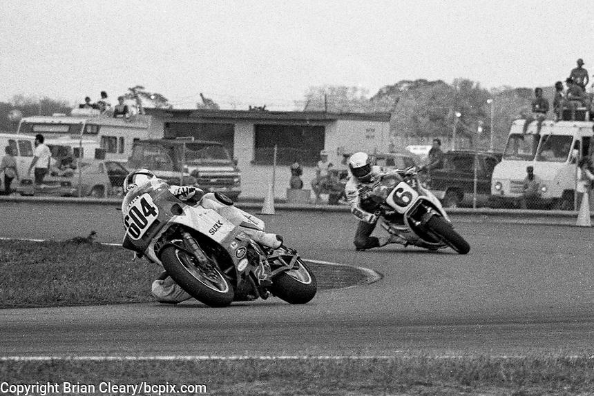 Tsujimoto Satoshi, #604 Suzuki, #6 Honda, Wayne Rainey, Daytona 200, Daytona International Speedway, March 8, 1987.  (Photo by Brian Cleary/bcpix.com)