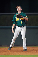 Siena Saints third baseman Brett Connors (2) during a game against the Stetson Hatters on February 23, 2016 at Melching Field at Conrad Park in DeLand, Florida.  Stetson defeated Siena 5-3.  (Mike Janes/Four Seam Images)