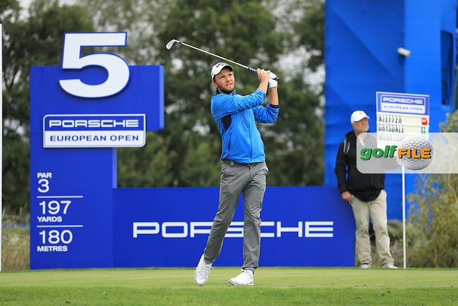 Maximilian Kieffer (GER) on the 5th tee during the 1st round at the Porsche European Open, Green Eagles Golf Club, Luhdorf, Winsen, Germany. 05/09/2019.<br /> Picture Phil Inglis / Golffile.ie<br /> <br /> All photo usage must carry mandatory copyright credit (© Golffile   Phil Inglis)