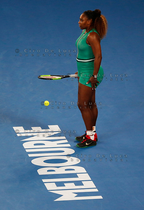17th January 2019, Melbourne Park, Melbourne, Australia; Australian Open Tennis, day 4; Serena Williams of USA looks in the match against Eugenie Bouchard of Canada