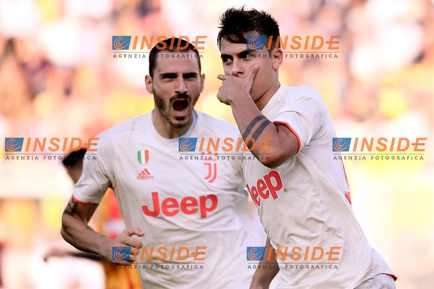 Paulo Dybala of Juventus celebrates after scoring the goal of 0-1 with Leonardo Bonucci <br /> Lecce 26-10-2019 Stadio Via del Mare <br /> Football Serie A 2019/2020 <br /> US Lecce - Juventus FC <br /> Photo Federico Tardito / Insidefoto