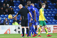 Sean Morrison of Cardiff City takes a drop ball during the Sky Bet Championship match between Cardiff City and Norwich City at The Cardiff City Stadium, Wales, UK. Friday 01 December 2017